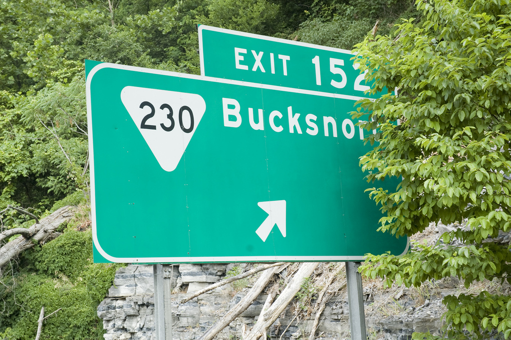 Bucksnort, an exit sign to a town that is no longer there
